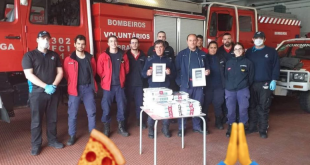 Pizzaria ofereceu lanche na Páscoa aos Bombeiros Voluntários de Braga