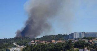 Bombeiros combatem incêndio próximo das Sete Fontes em Braga