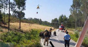Dois meios aéreos combatem incêndio em Braga