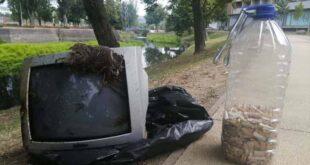 Televisão e milhares de beatas encontradas no Rio Este em Braga