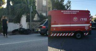 Acidente entre carro e mota faz um ferido em Braga