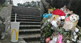 Rasto de lixo encontrado no Santuário de Santa Maria Madalena em Braga