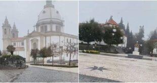 Já cai neve no Sameiro em Braga
